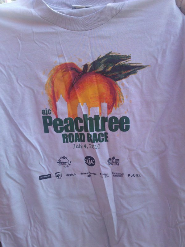 Peachtree road race 2010 t shirt