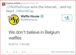 Waffle House _World Cup B vs USA Waffles_won my heart