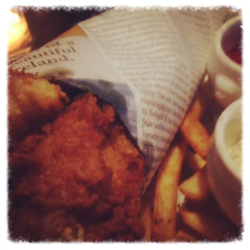 Newspaper fish and chips